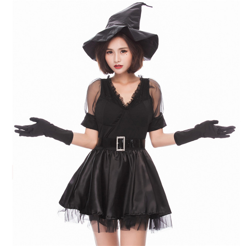 high quality Adult Black Gothic Witch Costumes Halloween princess Lovely witch Costume Sexy Evil Witch Fancy Party Dress Clothes