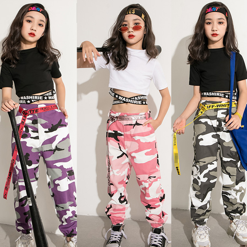 Jazz Dance Costume Girls Short Sleeve Tops Personality Camouflage Trousers Children Performance Wear Show Outfits Kids DN3670