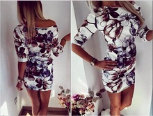 Brand New Hot Stylish Womens Mini Print Dress Slim Ladies Sleeve Party women dress elegant Vestido vintage Sexy