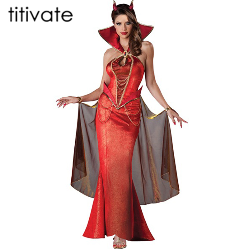 TITIVATE Sexy Deluxe Gothic Vampire Girl Demon Queen Adult Cosplay Halloween Costume for Women Party Carnival Long Dress
