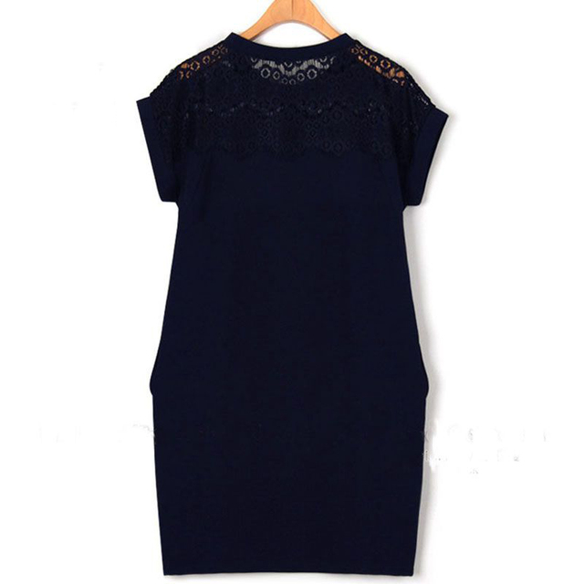 2017 Summer Women Fashion Straight Lace Shoulder Short Sleeve Black White Navy Big size Office Dress