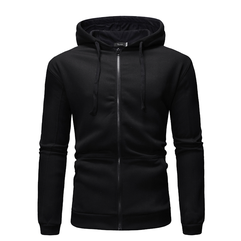 Hoodie Men Novelty Mens Hoodies Zipper 2019 New Pure Color Men's Recreational Sport Wearing Caps And Guards   Plus Size Hoodie