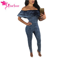 Dear Lover Overalls For Women Jeans Pants Sexy Ladies Plunge Neck Open Back Denim Long Jumpsuit