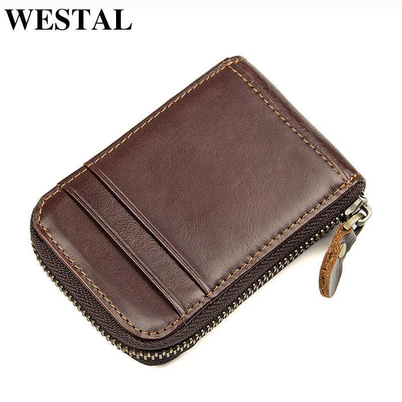 WESTAL peau de vache en cuir véritable Mini carte de crédit portefeuille sac à main porte-cartes de visite porte-monnaie porte-monnaie hommes portefeuille mince