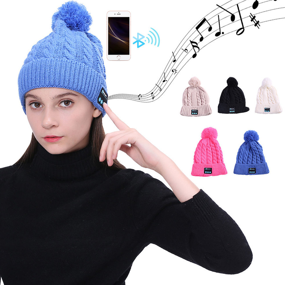 Free Ostrich Bluetooth Music Hat Women Headphones Winter Outdoor Earphone Smart Cap Speaker with Mic Bluetooth Hat K2830 bluetooth beanie hat and touchscreen gloves knitted bluetooth music hat built in stereo speakers winter hat for outdoor sports
