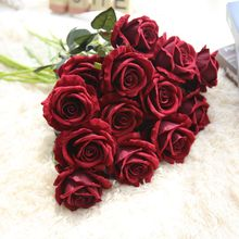 Rose Flowers Bouquet Wedding Artificial Fake Silk Valentines Day Plated