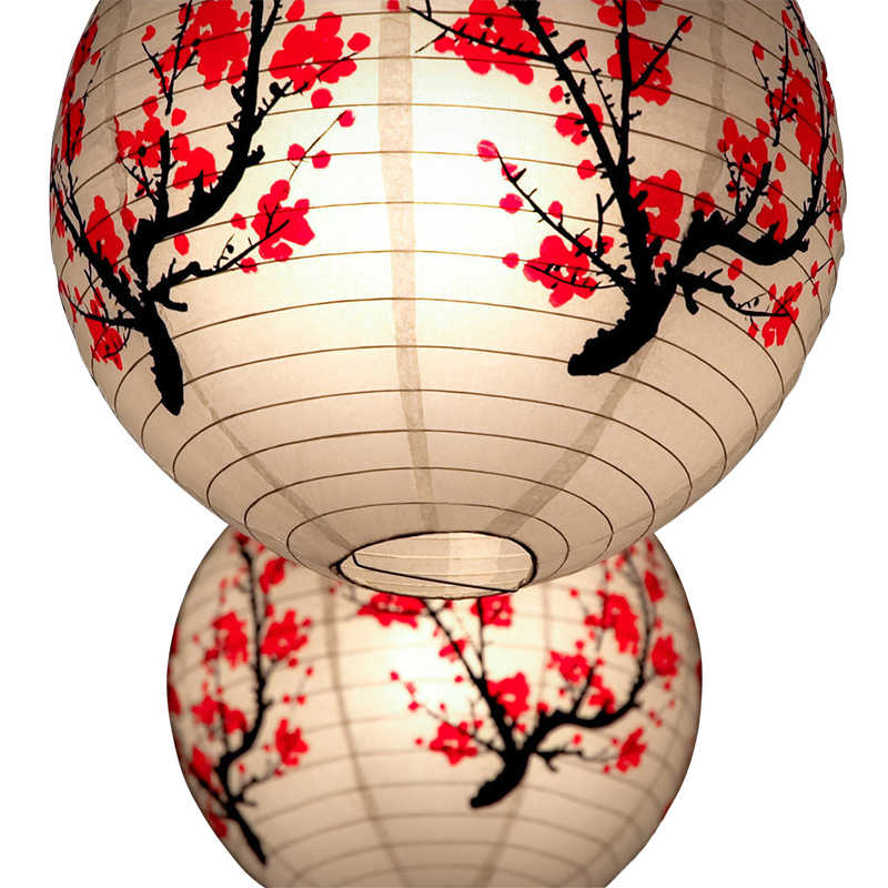 "40cm 16"" Plum Blossom Blue Porcelain Bamboo Printed Chinese Round Paper Lantern Wedding Party Decoration Hanging Paper Ball"