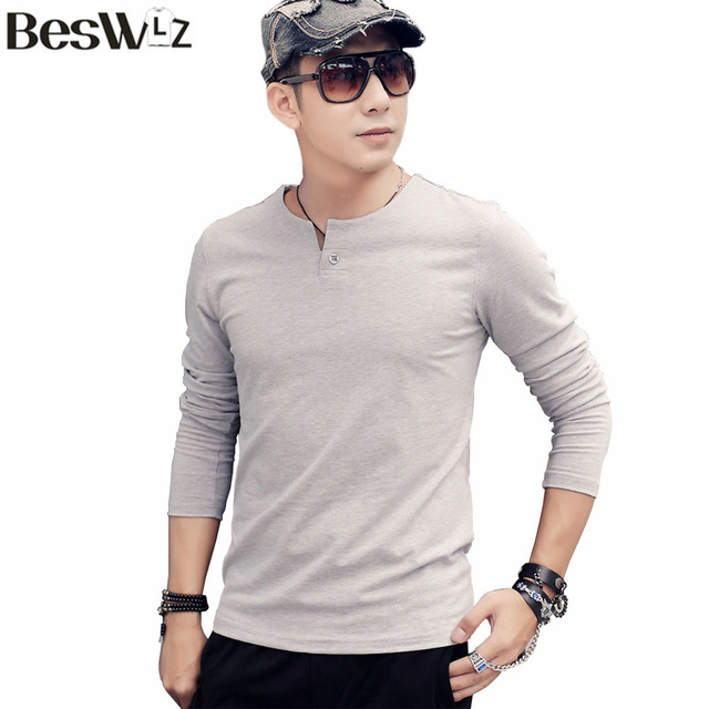 Beswlz Men T-Shirts Long Sleeve V-Neck Fashion Casual Style Cotton Slim Men T Shirt Brand Clothing Men Basic Tops Tees 7901