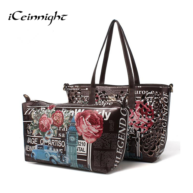 bags handbags women famous brands ladies vintage big shoulder bags women floral printed leather hollow out casual tote saffiano