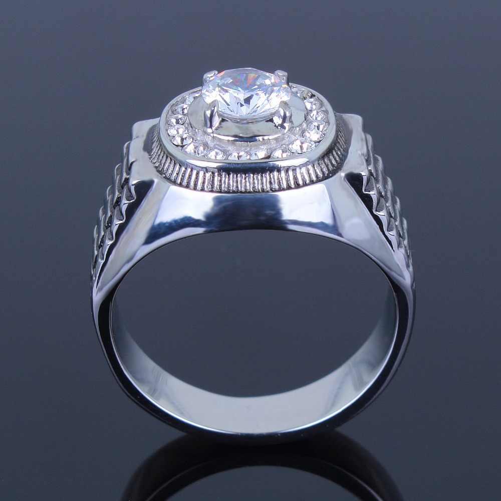 הגעה לניו נירוסטה קריסטל תכשיטי אופנה טבעת אופנה בסגנון מזדמן משלוח חינם בגודל מלא טבעת