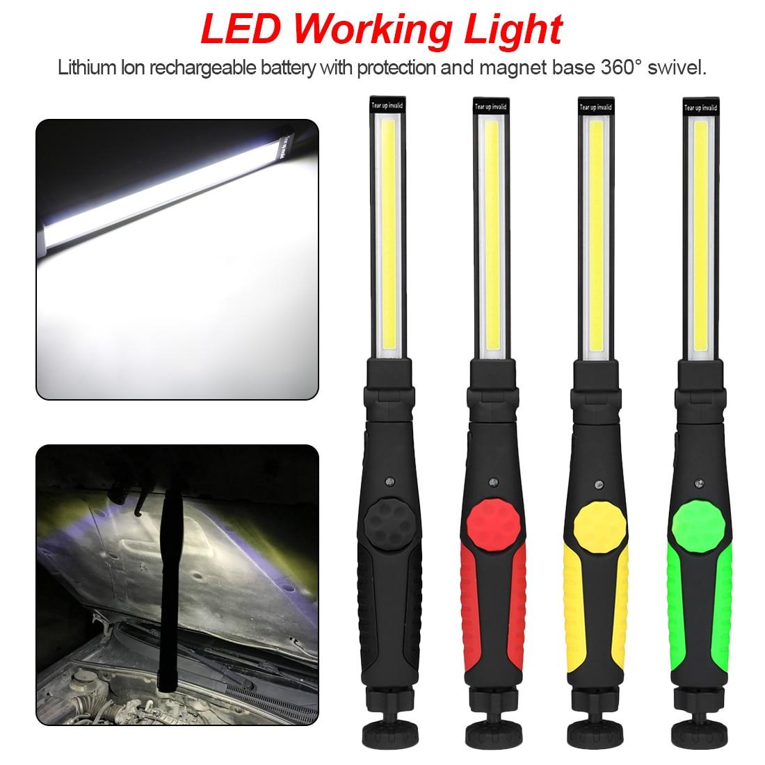 Upgraded Rotated Foldable Portable COB Flashlight Torch USB Rechargeable LED Work Light Magnetic COB Lantern Portable Spotlight