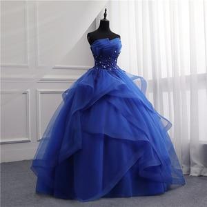 Image 3 - Formal Evening Dresses Long Gown Girls Elegant Blue White Strapless Sleeveless Priness Evening Dresses for party New Design