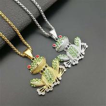 Хип хоп ледяной лягушка кулон ожерелья для мужчин и женщин нержавеющая