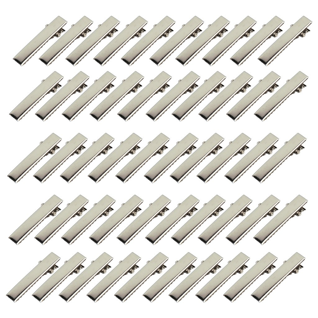 HHFF 50pcs Mini Crocodile Clips For Hair DIY - Silver