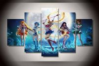Large Anime sailor moon Framed canvas decoration 5 pieces