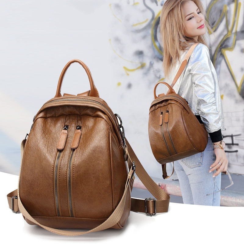 Casual Genuine Leather backpack women suture decoration soft leather Calfskin college style simple women's travel bag simple beautiful elegant leather backpack women soft calfskin casual wild fashion solid color cover travel backpacks bag