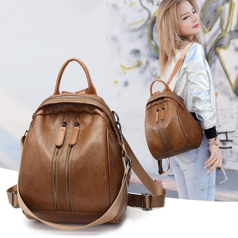 Occasionnel Véritable sac à dos En Cuir femmes suture décoration en cuir souple de Vachette collège style simple femmes de voyage sac
