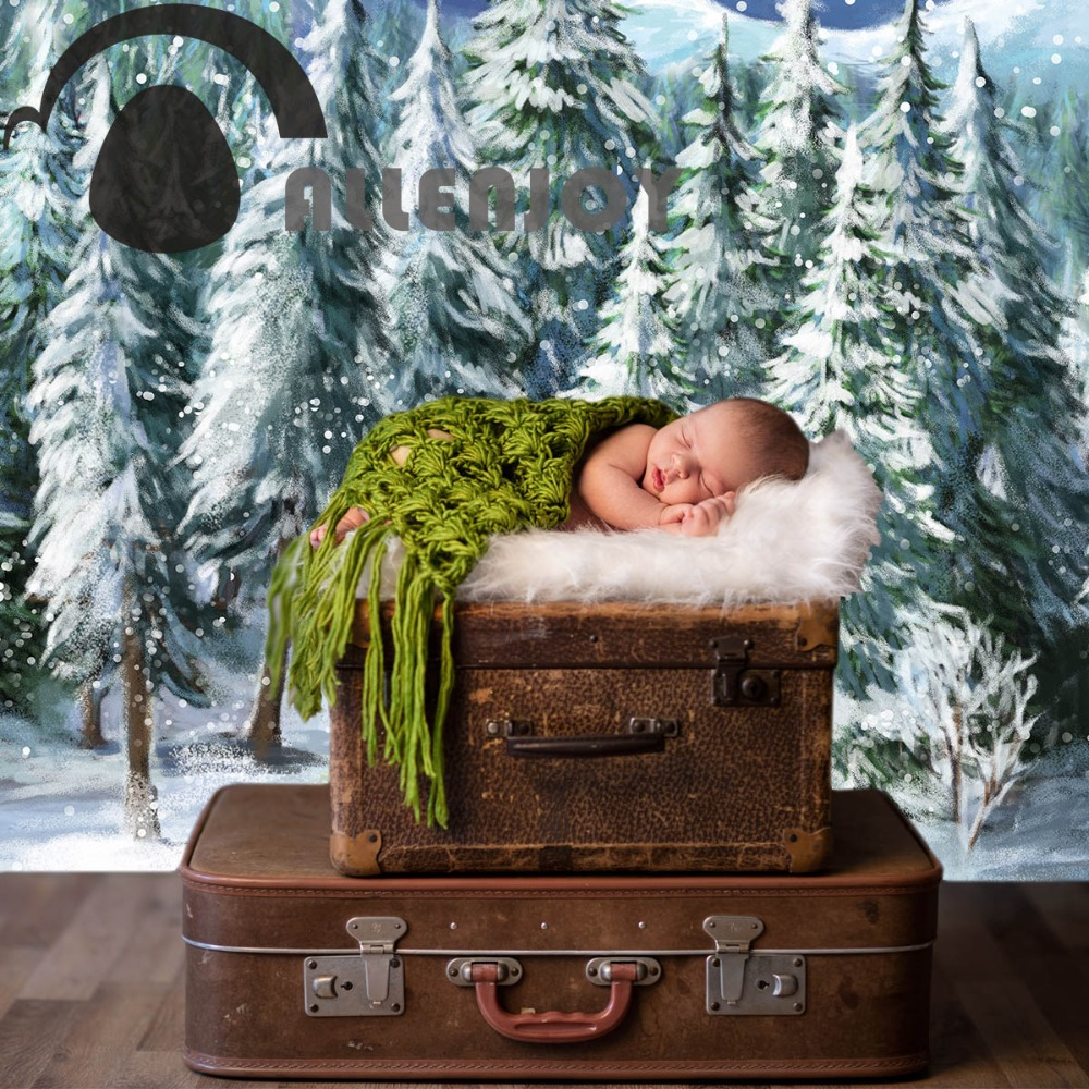 Allenjoy background for photo studio winter forest snow mountain painting backdrop printed photocall portrait shooting allenjoy backgrounds for photo studio white board children light illusory children new background photocall customize backdrop