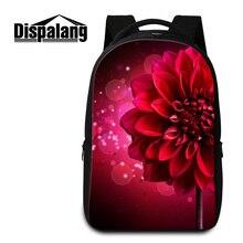Dispalang красный цветок печатных большой ноутбук рюкзак для девочки женская мода путешествия рюкзак сумки на ремне 17 дюймов daily bagpack