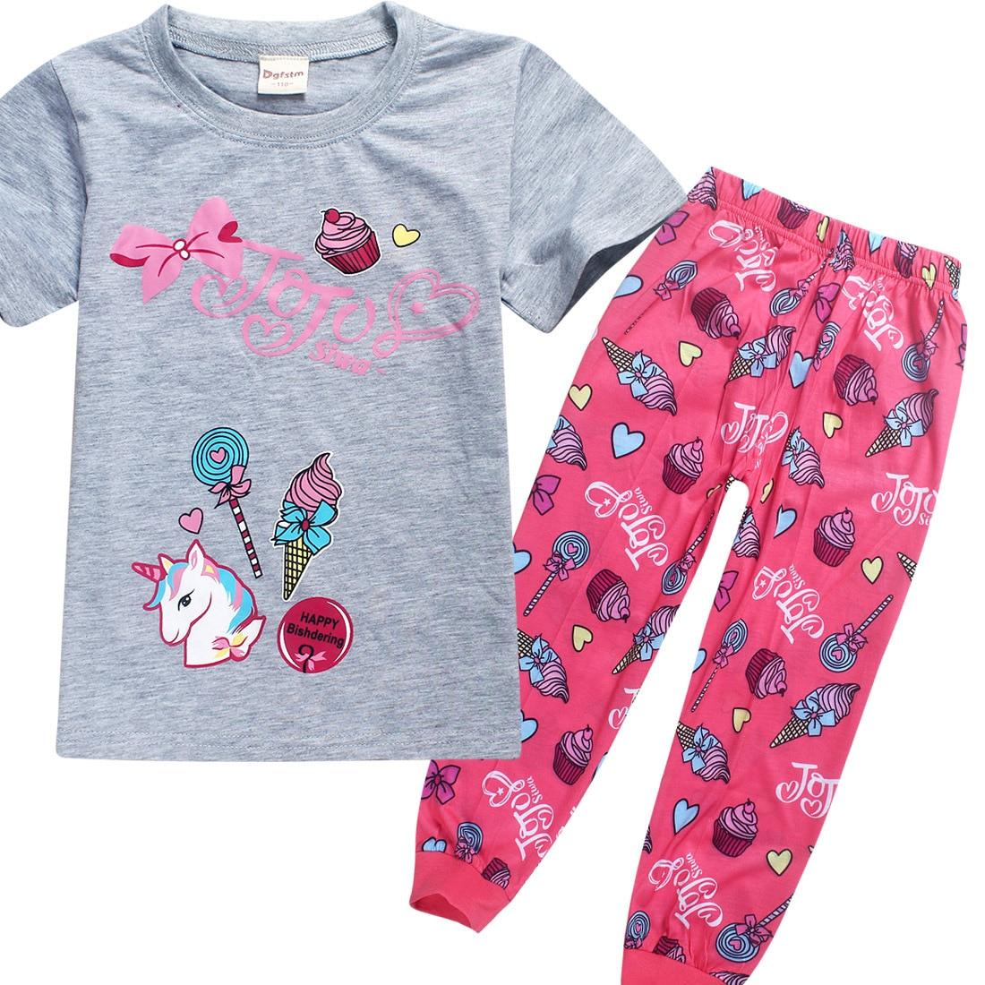 Pajamas For Kids Girls 2018 Summer Children Clothing Unicorns Sleepwear Jojo Siwa Pijamas Unicornio Pyjamas Animal Pijama 4-12y