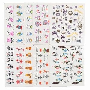 Image 4 - 50 arkuszy mieszane style Watermark BOW Cartoon naklejki Nail Art porady transferu wody naklejki uroda tymczasowe tatuaże narzędzia