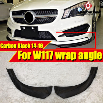 CLA W117 Front Bumper Wrap angle carbon For MercedesMB CLA180 CLA200 250 CLA45AMG look Sports lip spoiler splitter flaps 2014-16
