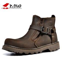 ZSUO moda Botas de cuero genuino para hombre Botas de invierno de primavera cálido para hombre Botas de vaquero transpirables de alta calidad zapatos de hombre Botas