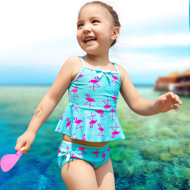 71b0b614 xuanqi Baby Girls Lovely flamingo Print Swimwear Summer Beach Toddler  Bathing Suit Children Two Pieces Suits Kids Girl Swimsuit