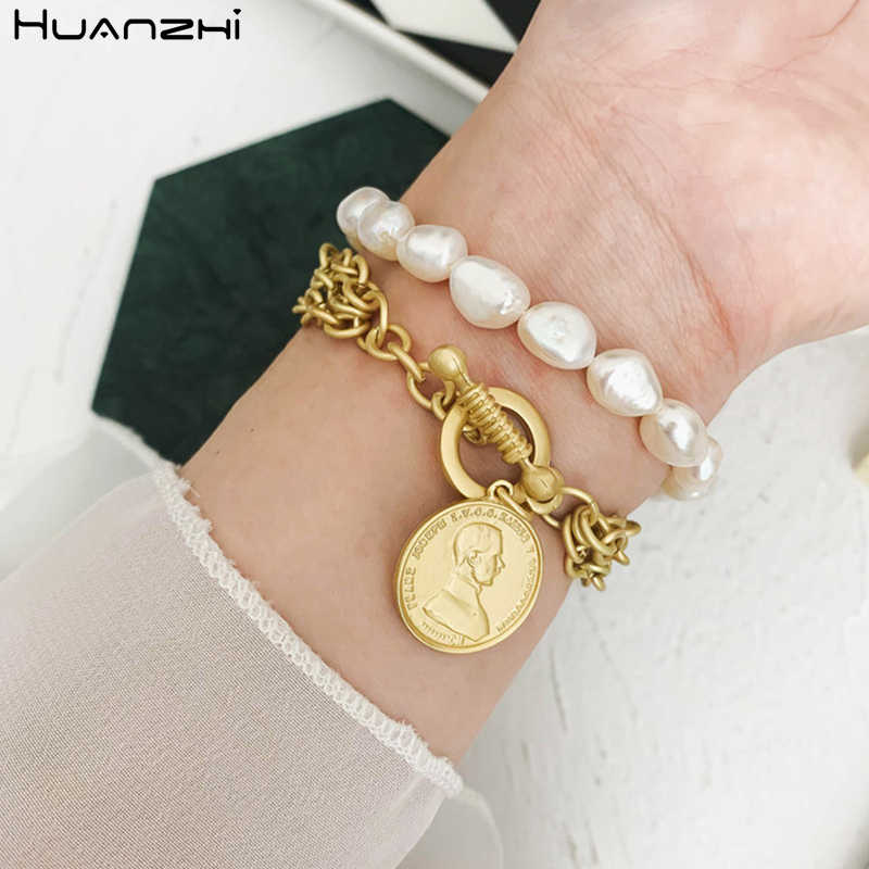 HUANZHI Handmade Baroque Natural Freshwater Pearl Bracelet Gold Metal Hand Jewelry Irregular Beads Bangle for Women