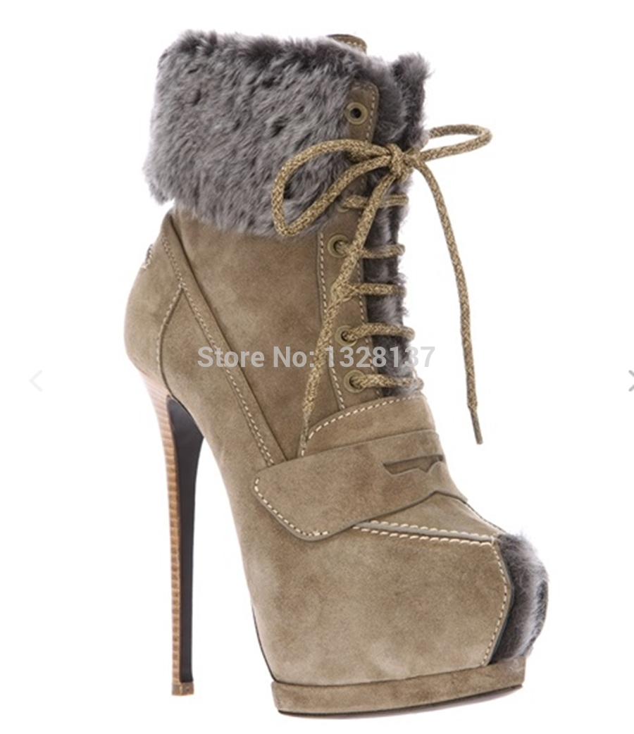 US 14 Hamdmade Rubber Suede Boots Lace Up Ankle Boots Heels Platforms Fur Sexy High Heel Round Toe Women Boots sapatos femininos
