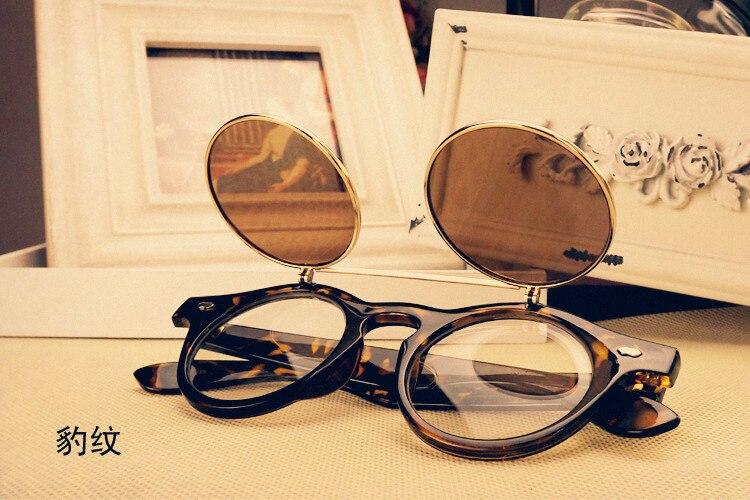 women man sunglasses steampunk style retro flip circular double metal sun glasses Double Lens Brand Vintage uv400 2016 new