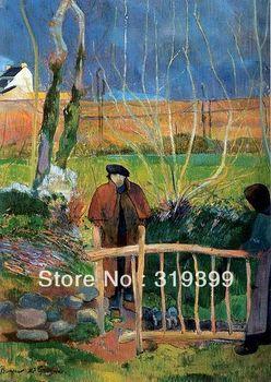 100% handmade Oil Painting Reproduction on Linen cavas,Bonjour Monsieur Gauguin (I) by paul gauguin,Museum quality,Free DHL Ship