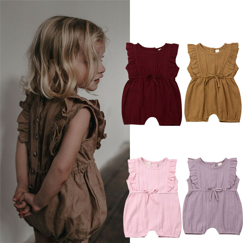 2019Newborn Infant Baby Girls Linen Ruffle   Romper   Jumpsuit Adorable Sleeveless Girls Summer Clothes Outfits