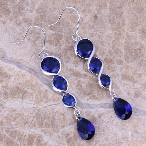 Fancy Blue Cubic Zirconia 925 Sterling Silver Drop Dangle Earrings For Women S0209 fancy blue cubic zirconia 925 sterling silver drop dangle earrings for women s0209