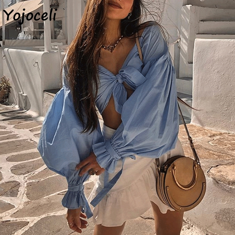 Yojoceli streetwear big lantern sleeve   blouses     shirt   2019 long sleeve casual bow blusas   shirt   tops