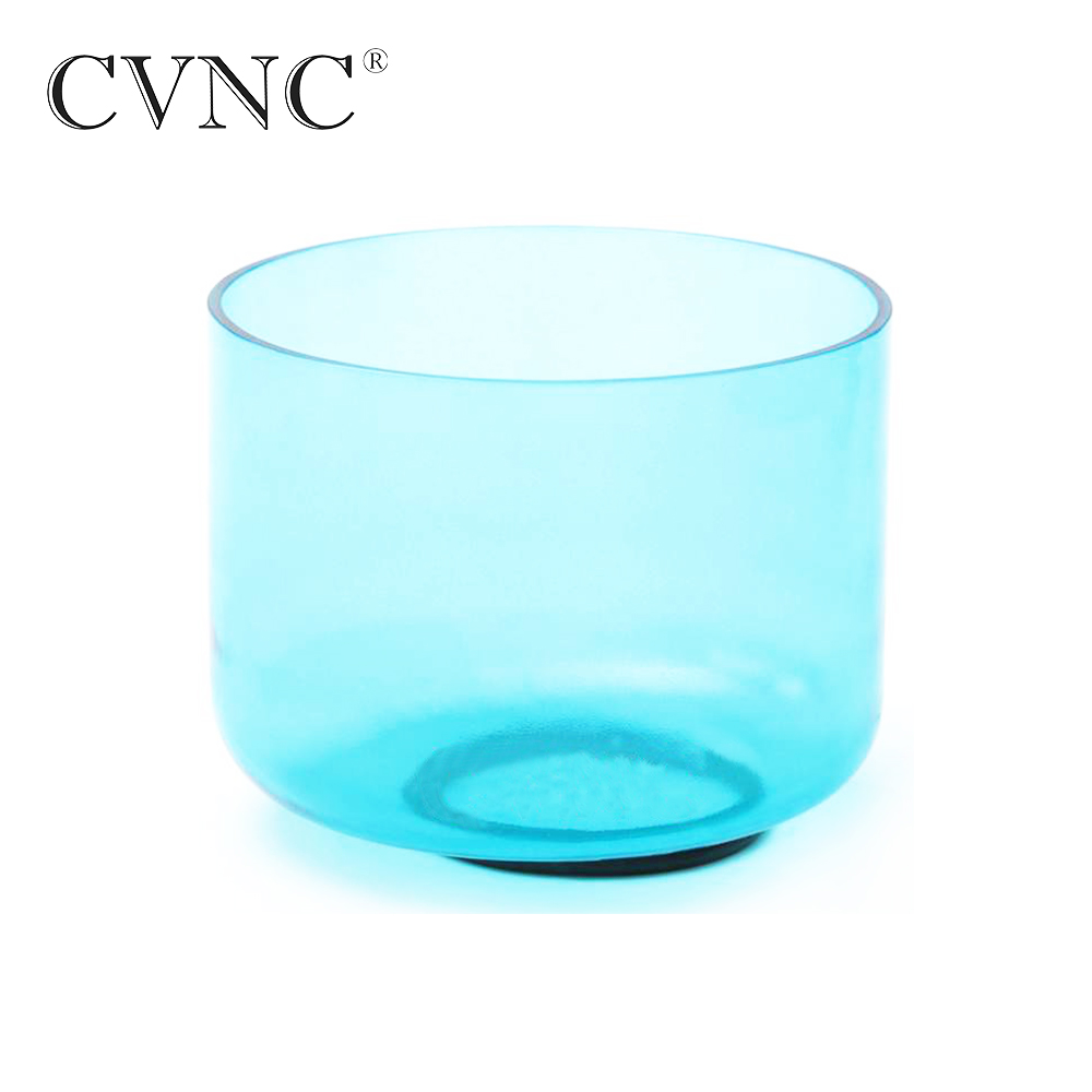 CVNC 6'' Blue Colored Clear Note G Throat Chakra Quartz Crystal Singing Bowl With Free Mallet and O Ring Gift