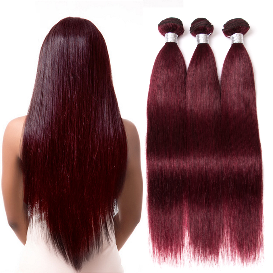 Bundles Hair-Extensions Human-Hair Burgundy Jaycee Straight Brazilian Red 3PC Wine Remy title=