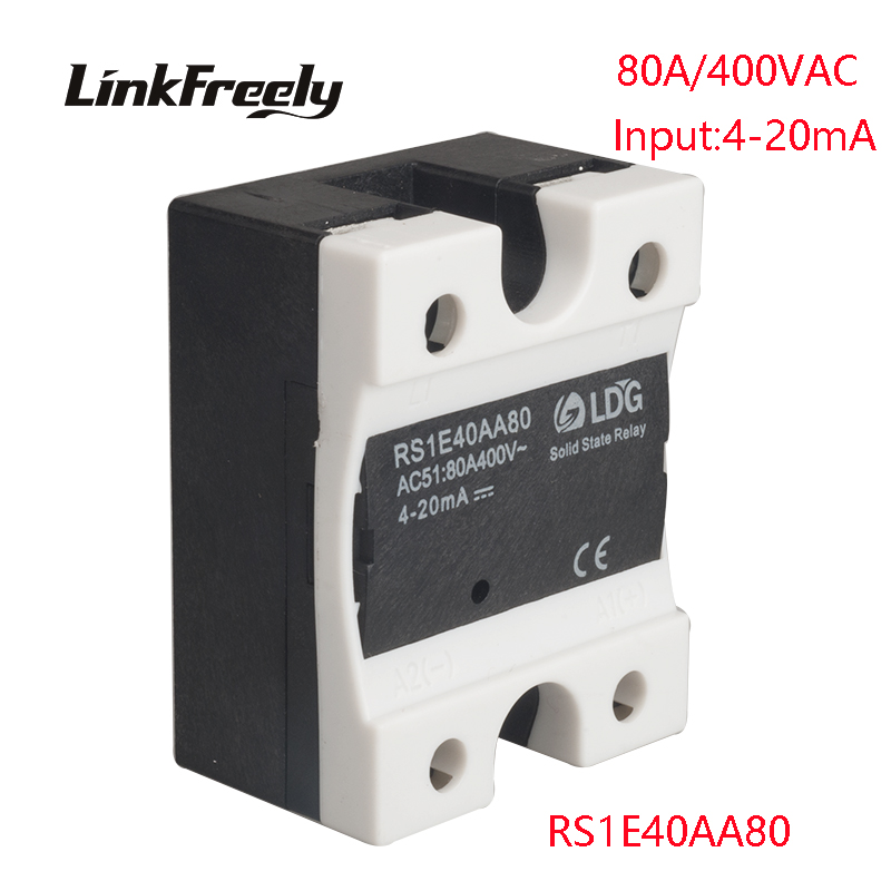 RS1E40AA80 5pcs AC Solid State Relay 80A 42-440VAC Output Input:4-20mA Voltage Adjustment Soft Starting SSR Relay Switch Board rm1a40a50 ac ac solid state relay 50a soft starting relay switch board output 42 440vac input 20 280vac 22 48v dc ssr relay