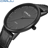 CRRJU 2018 New Brand Men Slim Sport Analog Quartz Watches Black Leather Strap Fashion Men S