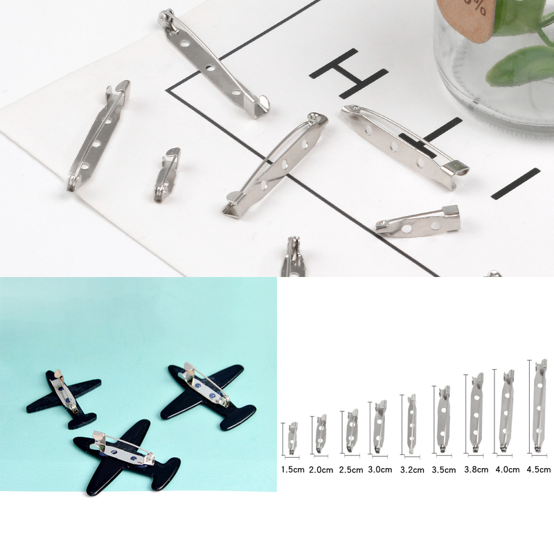 20 pieces/pack Brooch base Metal Pins 1.5cm-4.5cm Pins back Silver color Locking Clasp Pin holder Jewelry Accessories Wholesale