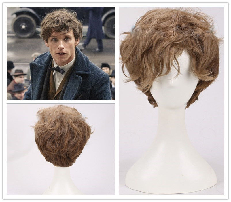 Fantastic Beasts and Where to Find Them Newt Scamander Brown Curly Cosplay Wig Newt wig Eddie Redmayne brown wig fantastic beasts and where to find them city skyli