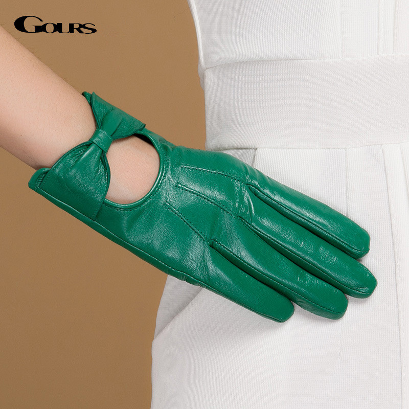 Gours Fall And Winter Women Genuine Leather Gloves New Fashion Brand Green Warm Driving Glove Goatskin Mittens Rosette GSL044