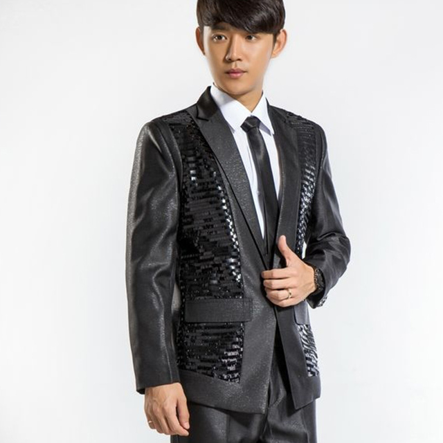 paillette male master Sequins Dresses Stage Costumes Men terno MC Clothing Singer Suits Blazer show jacket outerwear Emcee dress