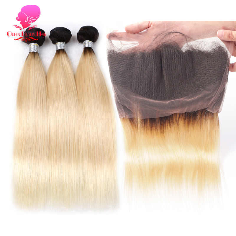 QUEEN 1B 613 2 Tone Color Ombre Blonde 360 Lace Frontal with Bundle Pre Plucked Remy Human Hair 3 4 Bundle with Frontal Straight