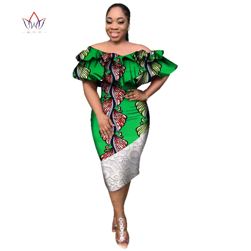 african dresses for women african clothes maxi dress africa outfit dress gown elegant lady slash neck mid-calf dresses WY2840 Платье