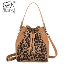 UKQLING Leopard Pattern Womens Shoulder Bags Leather Bucket Handbag Designer Cross Body Bags Ladies Tote Purse String Closure
