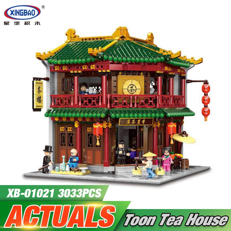 DHL XINGBAO 01021 3033Pcs Chinese Building Series The Toon Tea House Set Building Blocks Bricks Kids Toys Model Birthday Gifts