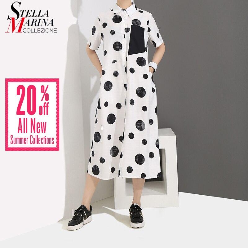 2019 Koreaanse Stijl Vrouwen Zomer Witte Lange Shirt Jurk Stippen Gedrukt Korte Mouwen Dames Leuke Losse Casual Jurken Gewaad 4960