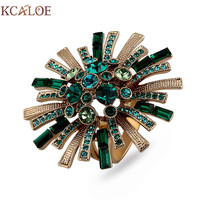 KCALOE Large Flowers Engagement Ring Luxury Green Austrian Crystal Cubic Zirconia Brand Jewelry Big Titanium Rings