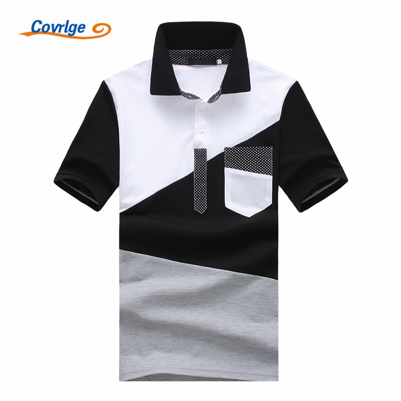 Covrlge Casual   POLO   Shirt Male Summer Fashion New Men's Black and White Stitching Short   Polo  -sleeved   Polo   Shirt Slim Men MTP059